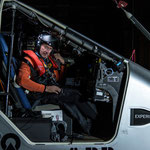 André Börschberg pass the night in the cockpit the 29th of october 2014 @Solar Impulse | Anna Pizzolante | Rezo.ch