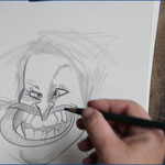 Karikaturistin Dipl. Soz. päd. Sylvia Voß in Aktion