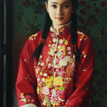 160 - Dongsheng Wang - Red Flower Coat - Oil on canvas - 145x55