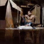 José Luis Ceña Ruíz - Poryecto para una vivienda digna - Óleo sobre lienzo - 130x130