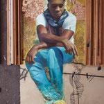 14 - David Planas Padilla - El negrito cimarrón - Mixta.Óleo sobre lienzo, pan de oro y otros materiales - 97x130