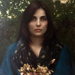 "278 - Kamille Corry - Viola in the Garden - Oil and gold leaf on linen over panel - 24"" x 18"""