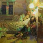 286 - José Luis Ceña Ruiz - Sueños de papel - óleo sobre lino - 130 x 130
