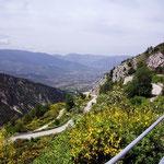 Abfahrt durch Ginsterhänge nach Sulmona