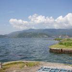 morgendlicher Blick über die Lagune auf den M. Argentario