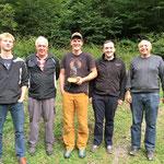 Die Sieger vlnr.: Huber Sandro (bester JS); Sulliger Fred (Rang 2); Egger Markus (Rang 1); Huggler Thomas (Rang 3); Huggler Hans Ruedi (Rang 4)