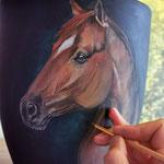 WIP, Pferd auf Keramik (Acryl)