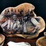 Bud & Terrence, Brennkolbenkunst auf Teakholzplatte