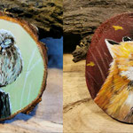 Acryl auf Holzscheibe