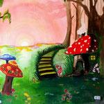 """""""Elfenwelt"""" 4,10m x 2,70m Wandgemälde mit Abtönfarben"""