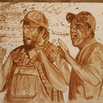 """Tucker and Dale vs evil"" Kaffee auf Aquarellpapier"