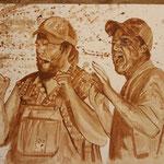 """Tucker and Dale vs evil"" Kaffee auf Aquarellpapier"