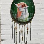 Fuchs - Windspiel: Acryl auf Holzscheibe