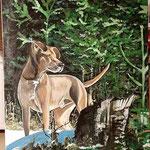 """Hund im Winterwald"", Acryl auf Leinwand, 60 x 80 cm (Kundenauftrag nach Fotovorlage)"