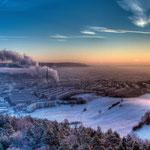 Der verschneite Jenaer Stadtteil Winzerla