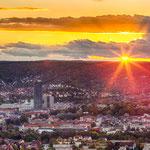 Die Skyline von Jena mit Sonnenuntergang
