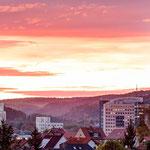 Das Zentrum von Jena mit Abendrot
