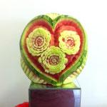 geschnitzte Wassermelone Herz