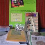Equipment für die Lesung: Plakat, Flyer, Bestellzettel - und ganz wichtig: das Buch!