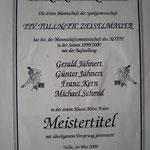 Urkunde für die Meisterschaft in der 1.Klasse