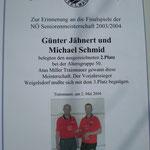 2. Platz für Jähnert und Schmid bei den Senioren 50+ im Jahr 2003/04