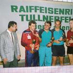 Siegerehrung beim Gründungsturnier 1989 - Dir.Maslo, Holzbauer, Kern, Jähnert Gü. und Schmid