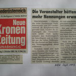 Bericht in der Kronenzeitung 5.10.1993