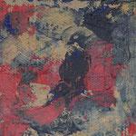 Nr.-S 18: Maske in Rot, Acryl, gespachtelt, A 4, Pappe