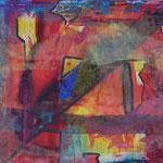 Nr.-S1: Rote Emotionen, Acryl, gespachtelt,  A 4, Papier