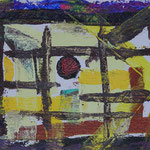 Nr.-S 14: Roter Punkt, Acryl, gespachtelt, A 4, Papier