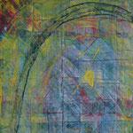 Nr.-S9: Licht im Fenster, Acryl, gespachtelt, A 4, Pappe