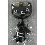 のびのび猫のキーホルダー 黒