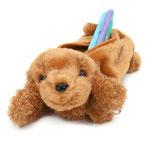 子犬のペンシルケース ダックス ブラウン