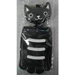のびのび猫のパスケース  黒