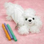 子犬のペンケース カーリー ホワイトプードル