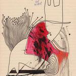 TAGESBEFINDLICHKEITEN 2 - Ein Sturm zwischen den beiden | Tusche, Buntstift, Kuli auf Papier | 2013 | 21 x 30 cm |