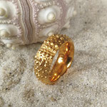 Seeigel Ring Silber goldplattiert