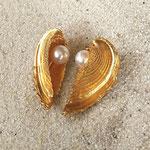 Herzmuschel Ohrstecker mit Perle