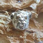 Bulldogge Ring Silber mit Diamant gelb