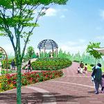 広島に建設のバラ公園の部分スケッチ