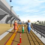 高架道路整備のスロ-プ通路