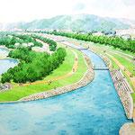 岡山上隣接の河川公園整備の部分スケッチ