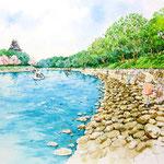 岡山城周辺の水辺の遊歩道整備の部分スケッチ
