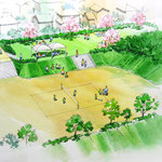 景観整備の広場計画部 部分スケッチ