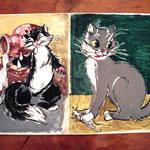 Малюнок. Два коти.
