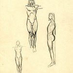 Georges Lacombe, Trois études de Christ, vers 1898, crayon et encre sur papier, collection musée des beaux-arts de Brest