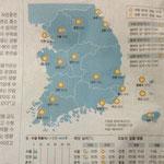 Unser erste koreanische Tageszeitung ... gut dass die Wettervorhersage auch ohne Sprachkenntnis verständlich ist.