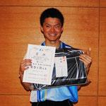 一般男子シングルス優勝 地﨑大知(出雲北陵中学高等学校)