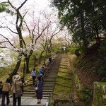 長い階段を登ります。