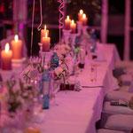 Hochzeitstafel am abend